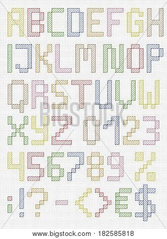 Colorful stitched uppercase english alphabet with numbers and symbols. Isolated on white cloth texture