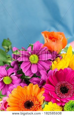Fresh Vibrant Brightly Coloured Florist Flowers. Copy Space.