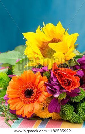 Sunflower And Gerbera In Bouquet Of Florist Flowers.