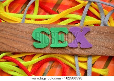 WORD SEX ON A  ABSTRACT  COLORFUL BACKGROUND