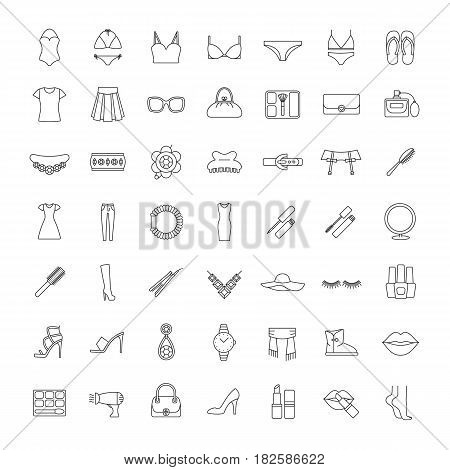 Women accessories linear icons set. Clothes, cosmetics, jewelry, footwear and manicure equipment. Ladies fashion. Thin line contour symbols. Isolated vector illustrations