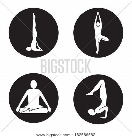 Yoga asanas icons set. Sarvangasana, vrikshasana, siddhasana, vrishchikasana yoga positions. Vector white silhouettes illustrations in black circles