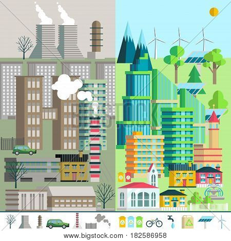 illustration of urban landscape, environment, ecology, elements of infographics. May be used for the background, layout, banner, web design template.
