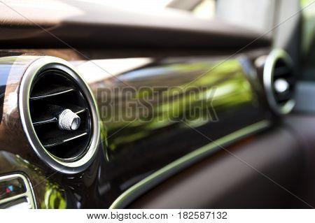 Heating Element In Modern Car Interior. Shallow Depth Of Field