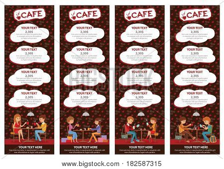 Couples of people in cafe eat, drink. Templates for flyers and banners. Vector Illustration with men and women at tables on brown background.