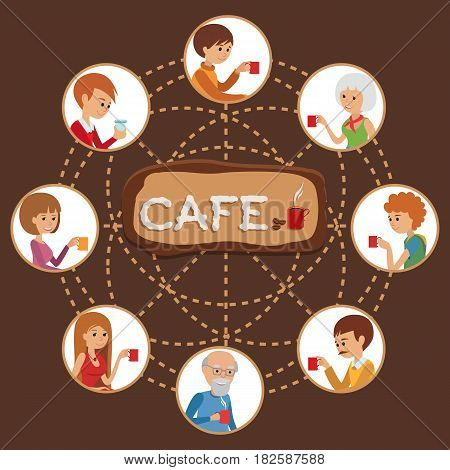 Template for flyers and banners. Vector Illustration with men and women drinking coffee on brown background.