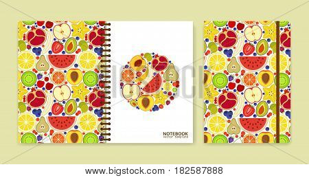 Cover design for notebooks or scrapbooks with many fruits. Vector illustration.