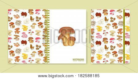 Cover design for notebooks or scrapbooks with mushrooms. Vector illustration.