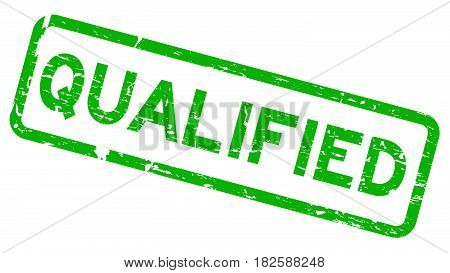 Grunge green qualified square rubber seal stamp on white background