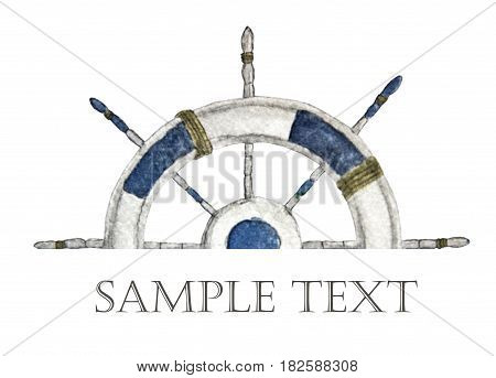 steering wheel for ships and boats with place for text. Hand painted watercolor.