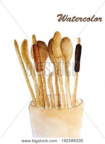 Wooden spoons , fork and chopsticks - watercolor painting on white background