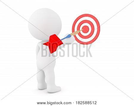 3D Character throwing dart at target. Image can be used as a metaphor for aiming at goals.