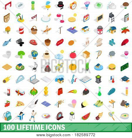 100 lifetime icons set in isometric 3d style for any design vector illustration