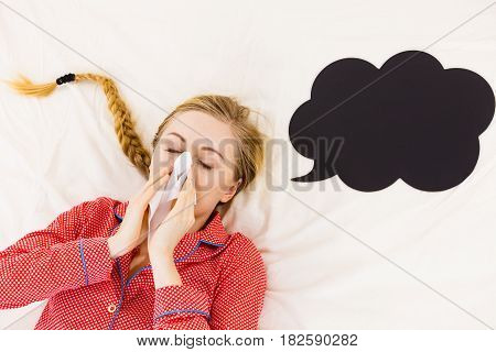 Woman Being Sick Having Flu Lying On Bed