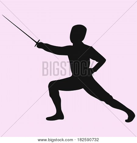 Fencing player vector silhouette isolated on background