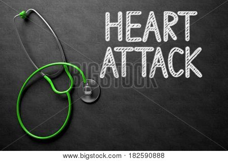 Medical Concept: Black Chalkboard with Heart Attack. Medical Concept: Black Chalkboard with Handwritten Medical Concept - Heart Attack with Green Stethoscope. Top View. 3D Rendering.
