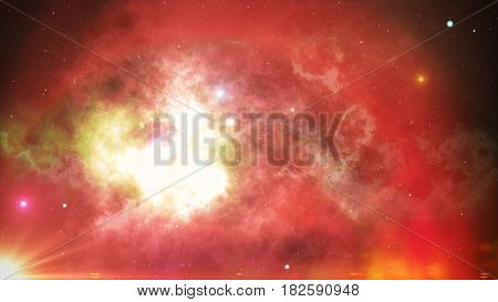 Glowing Stars And Nebulae In Open Space