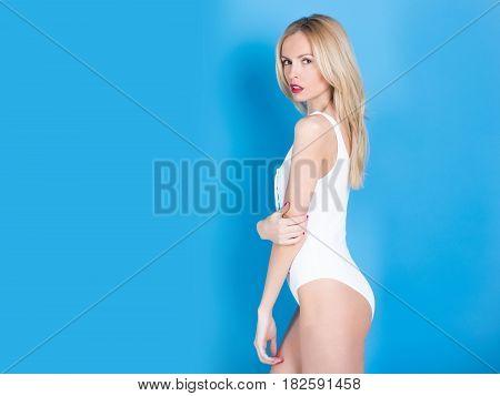 Pretty Fit Girl In White Bodysuit