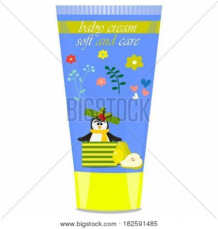 High quality original trendy vector Baby cream tube with kids design and pinguin, pear illustration