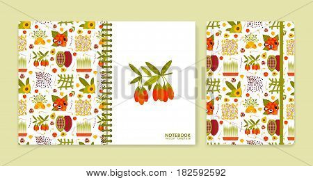 Cover design for notebooks or scrapbooks with superfood icons. Vector illustration.