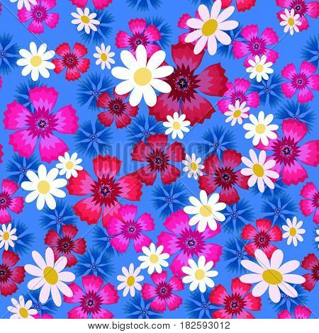Seamless pattern with small and big white daisies, pink carnation and blue cornflowers on a blue background. Wild, flowers.Summer vector illustration.Print for fabric, textile, wrapping paper.