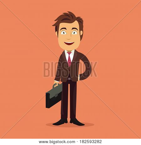 Business man cartoon character with briefcase. Vector stock.