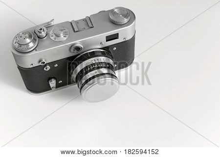 one old camera of monochrome gray tone for the isolated vintage objects