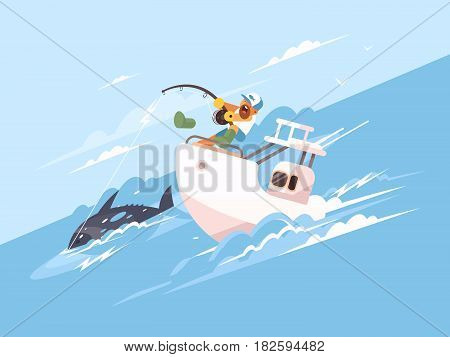 Fisherman catches tuna from yacht. Marine fishing vector flat illustration