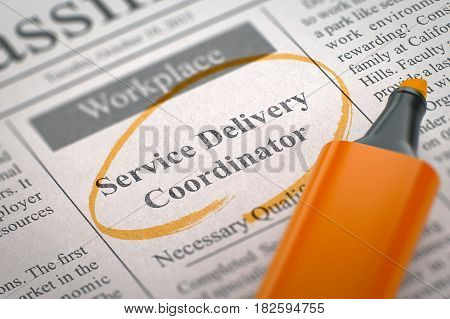 Newspaper with Small Ads of Job Search Service Delivery Coordinator. Blurred Image with Selective focus. Concept of Recruitment. 3D Rendering.