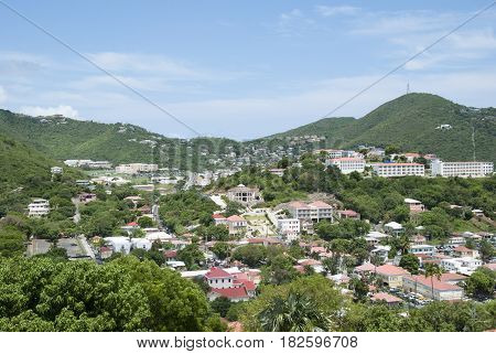 The view of Charlotte Amalie town on St. Thomas island (U.S. Virgin Islands).