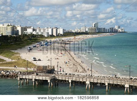 The view of Miami South Beach in late afternoon (Florida).