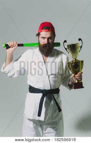 Bearded Karate Man In Kimono, Green Baseball Bat, Champion Cup
