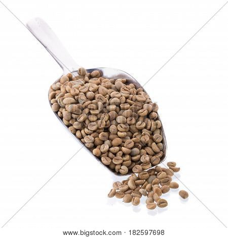 Green Arabica Coffee Beans In Aluminum Spoon On White Background