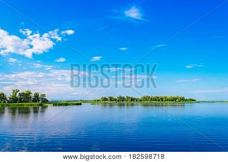 River Volga with islands on a summer day