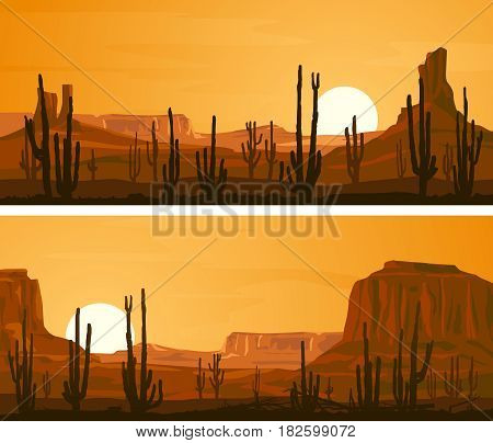 Set of horizontal wide banners with prairie wild west and cacti at sunset.