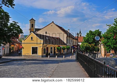 SZENTENDRE HUNGARY - MAY 25: Historical center of Szentendre old town on May 25 2016. Szentendre is a small touristic town located 30 minutes from Budapest.