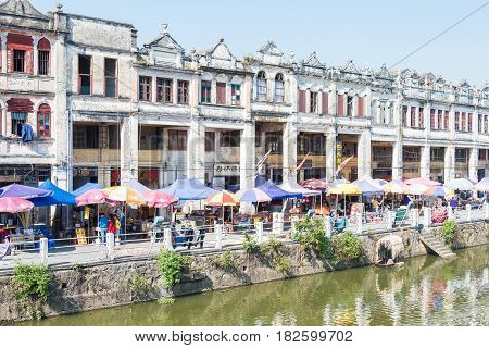 Gunagdong, China - Dec 17 2015: Chikan Old Town. A Famous National Historic And Cultural Town Of Chi