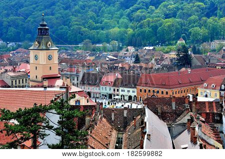 BRASOV ROMANIA - MAY 7: Top view of Brasov old town Romania on May 7 2016. Brasov is a capital of Transylvania province of Romania.