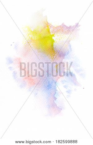 Abstract watercolor brush stroke illustration on paper. Artistic painting background.