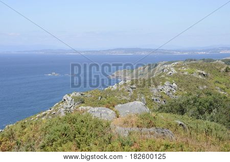 Overlook of the coast from the Mountain of Facho in Cangas in the province of Pontevedra Galicia Spain.