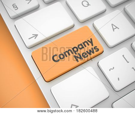 Business Concept with Metallic Enter Orange Button on the Keyboard: Company News. Business Concept: Company News on Modern Keyboard lying on the Orange Background. 3D Render.