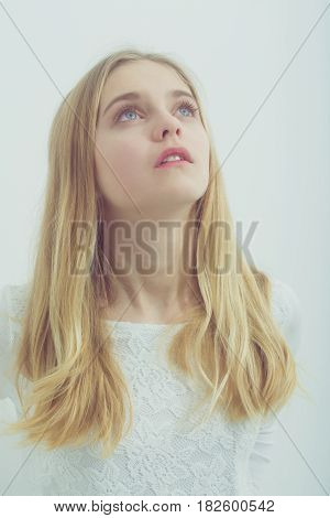 Pretty Young Girl With Blond Hair