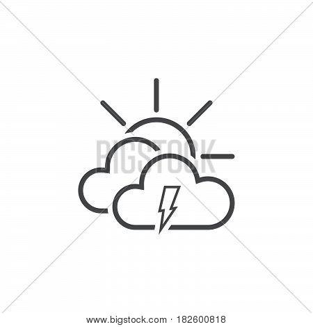 Lightning and sun icon isolated on white background .