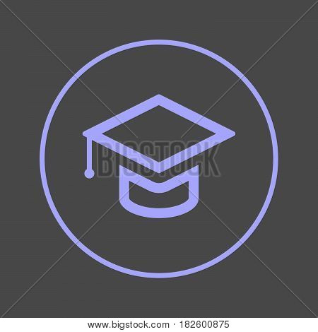 Graduation Square academic cap circular line icon. Round colorful sign. Education flat style vector symbol