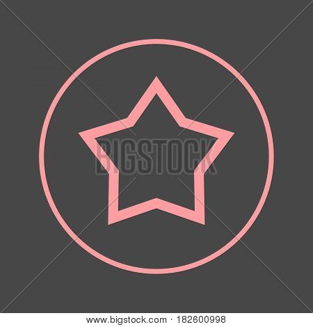 Star favorite circular line icon. Round colorful sign. Flat style vector symbol