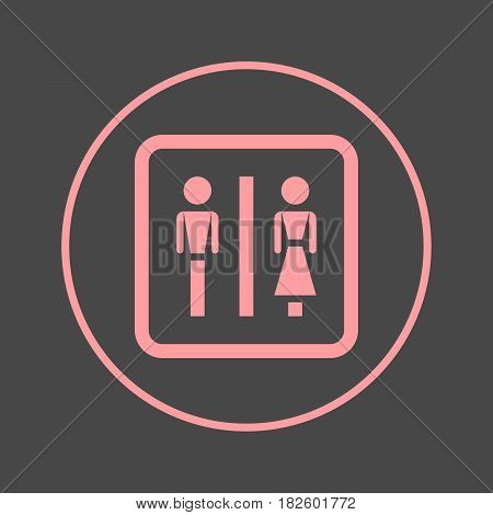 Water closet circular line icon. WC Toilet round colorful sign. Flat style vector symbol