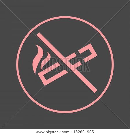 No smoking circular line icon. Round colorful sign. Flat style vector symbol