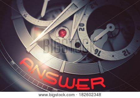 Fashion Wrist Watch with Answer Inscription on Face. Answer on the Face of Men Wrist Watch Machinery Macro Detail Monochrome. Work Concept with Glow Effect and Lens Flare. 3D Rendering.