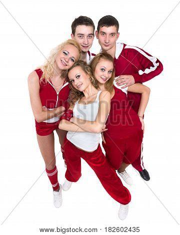 Disco dancer team dancing, isolated on white background in full length.