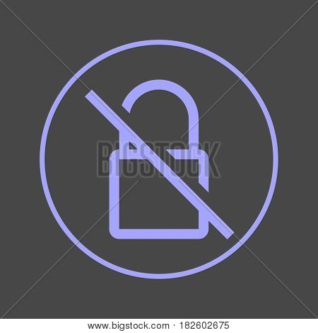 Strikethrough lock circular line icon. No encryption round colorful sign. No encryption flat style vector symbol